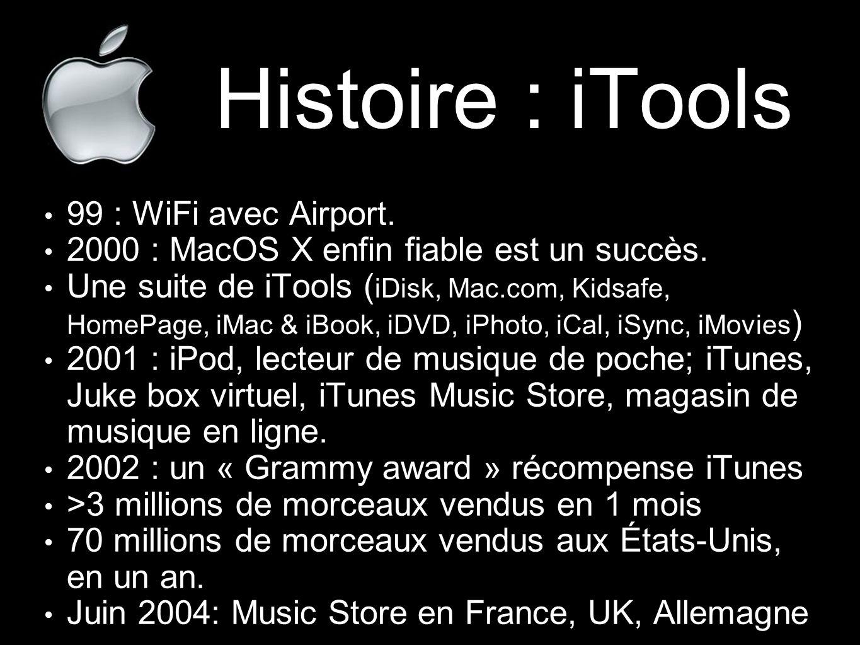 Histoire : iTools 99 : WiFi avec Airport. 2000 : MacOS X enfin fiable est un succès. Une suite de iTools ( iDisk, Mac.com, Kidsafe, HomePage, iMac & i