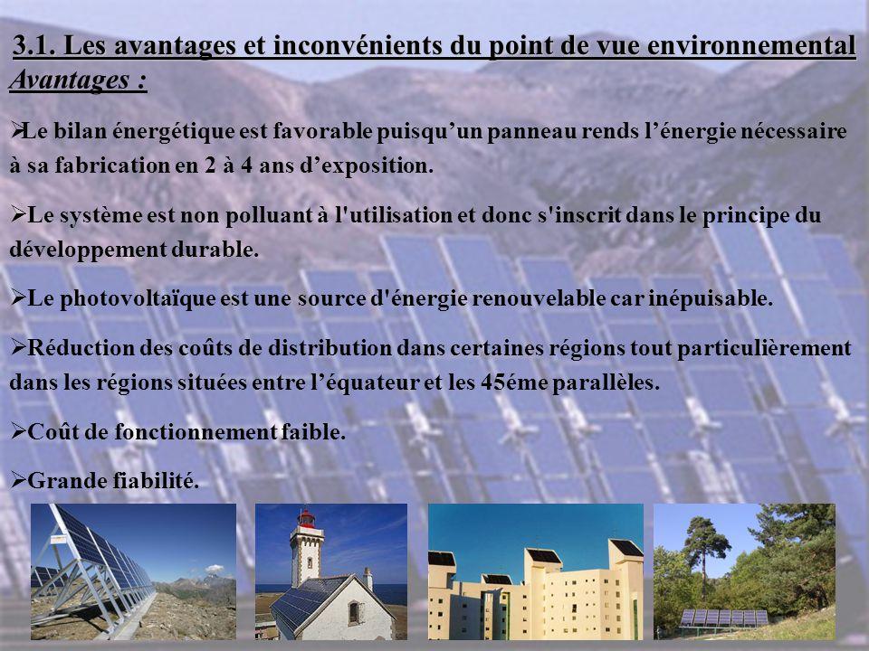 3.1. Les avantages et inconvénients du point de vue environnemental Avantages :  Le bilan énergétique est favorable puisqu'un panneau rends l'énergie
