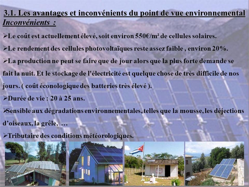 Inconvénients :  Le coût est actuellement élevé, soit environ 550€/m² de cellules solaires.  Le rendement des cellules photovoltaïques reste assez f