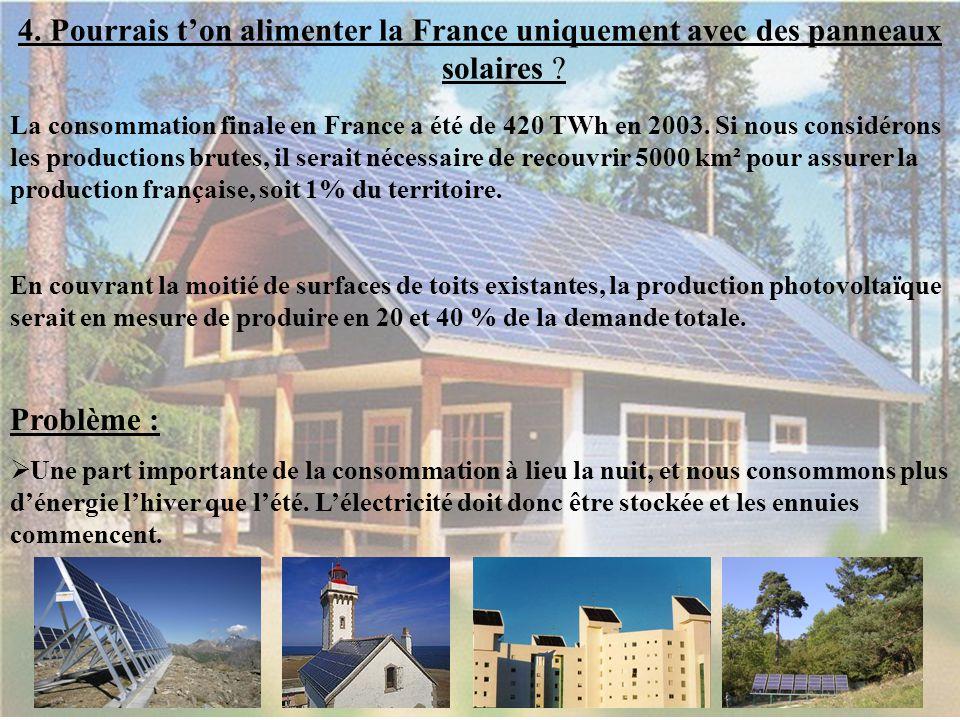 4. 4. Pourrais t'on alimenter la France uniquement avec des panneaux solaires ? La consommation finale en France a été de 420 TWh en 2003. Si nous con