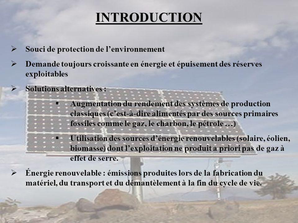 INTRODUCTION  Souci de protection de l'environnement  Demande toujours croissante en énergie et épuisement des réserves exploitables  Solutions alt