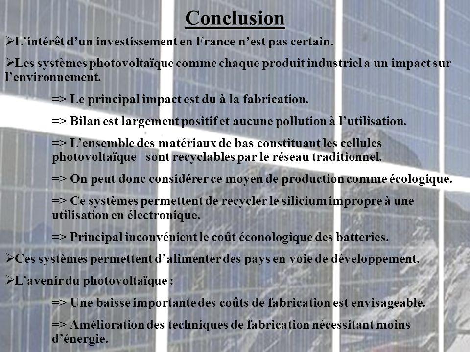 Conclusion  L'intérêt d'un investissement en France n'est pas certain.  Les systèmes photovoltaïque comme chaque produit industriel a un impact sur