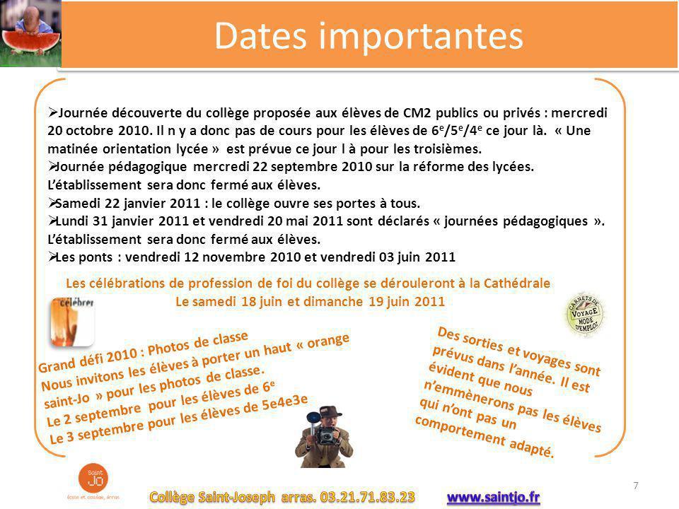 Dates importantes  Journée découverte du collège proposée aux élèves de CM2 publics ou privés : mercredi 20 octobre 2010. Il n y a donc pas de cours