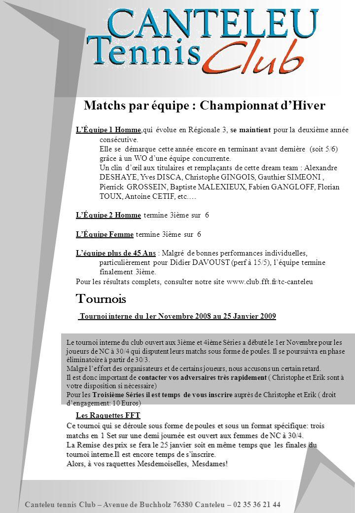 Canteleu tennis Club – Avenue de Buchholz 76380 Canteleu – 02 35 36 21 44 Matchs par équipe : Championnat d'Hiver L'Équipe 1 Homme,qui évolue en Régio