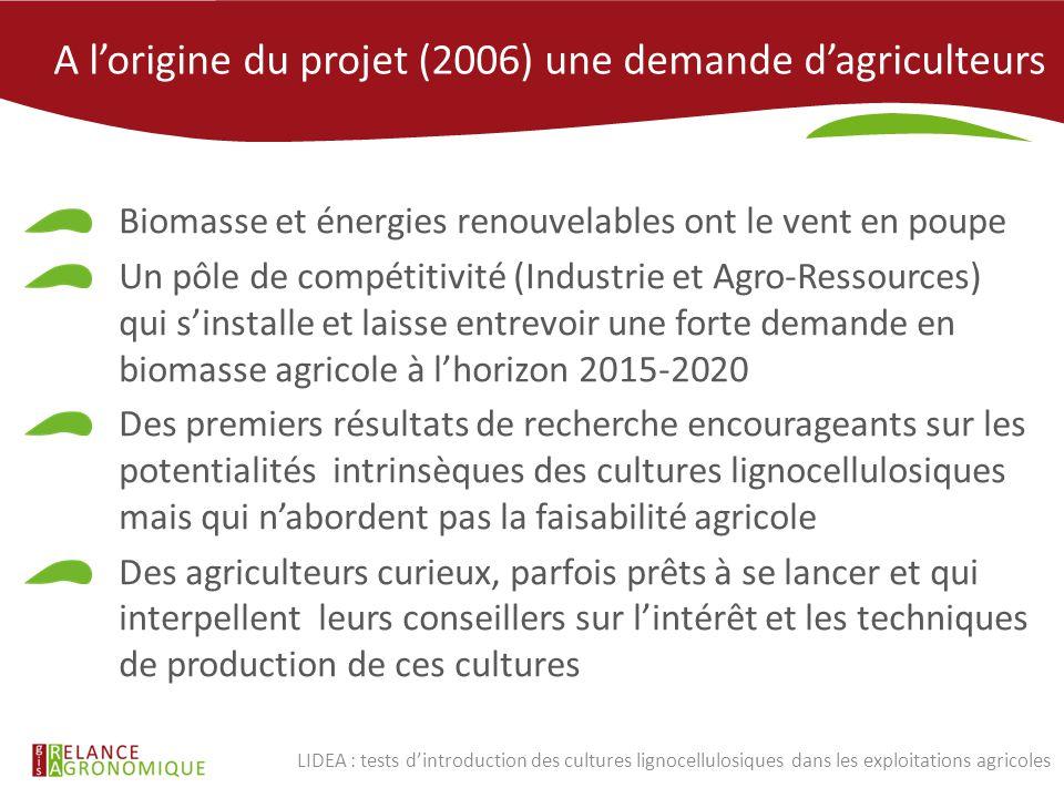 A l'origine du projet (2006) une demande d'agriculteurs Biomasse et énergies renouvelables ont le vent en poupe Un pôle de compétitivité (Industrie et