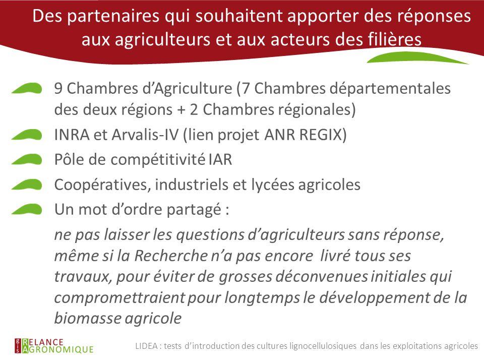 Des partenaires qui souhaitent apporter des réponses aux agriculteurs et aux acteurs des filières 9 Chambres d'Agriculture (7 Chambres départementales