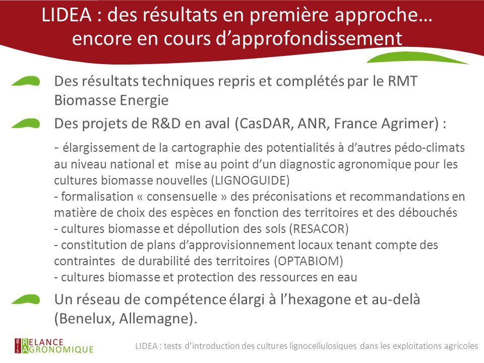 LIDEA : des résultats en première approche… encore en cours d'approfondissement Des résultats techniques repris et complétés par le RMT Biomasse Energ