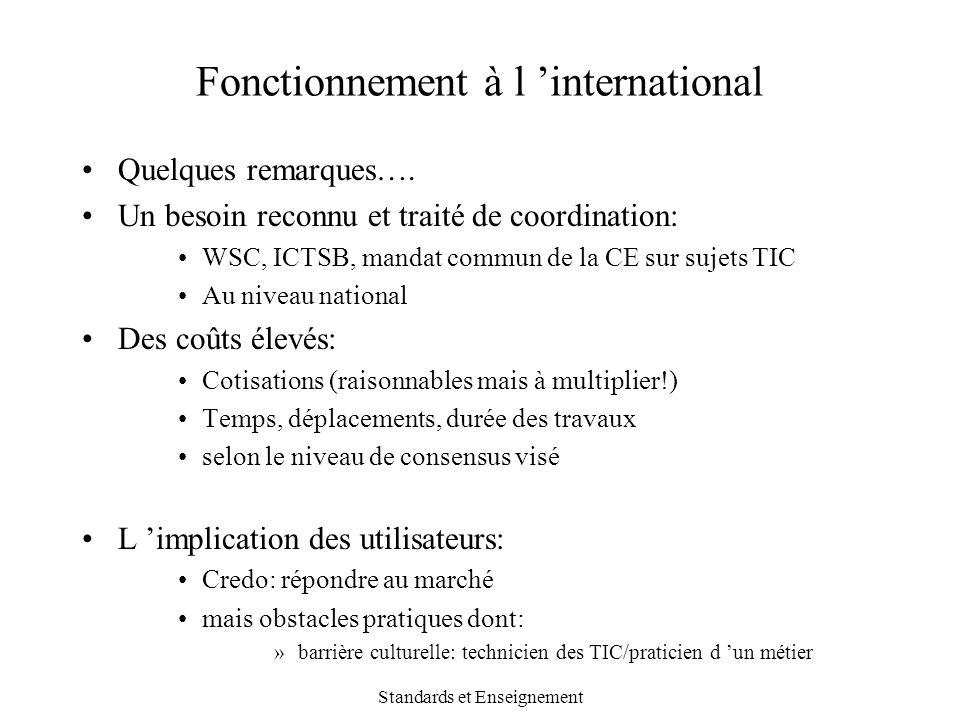 Standards et Enseignement Fonctionnement à l 'international Quelques remarques…. Un besoin reconnu et traité de coordination: WSC, ICTSB, mandat commu