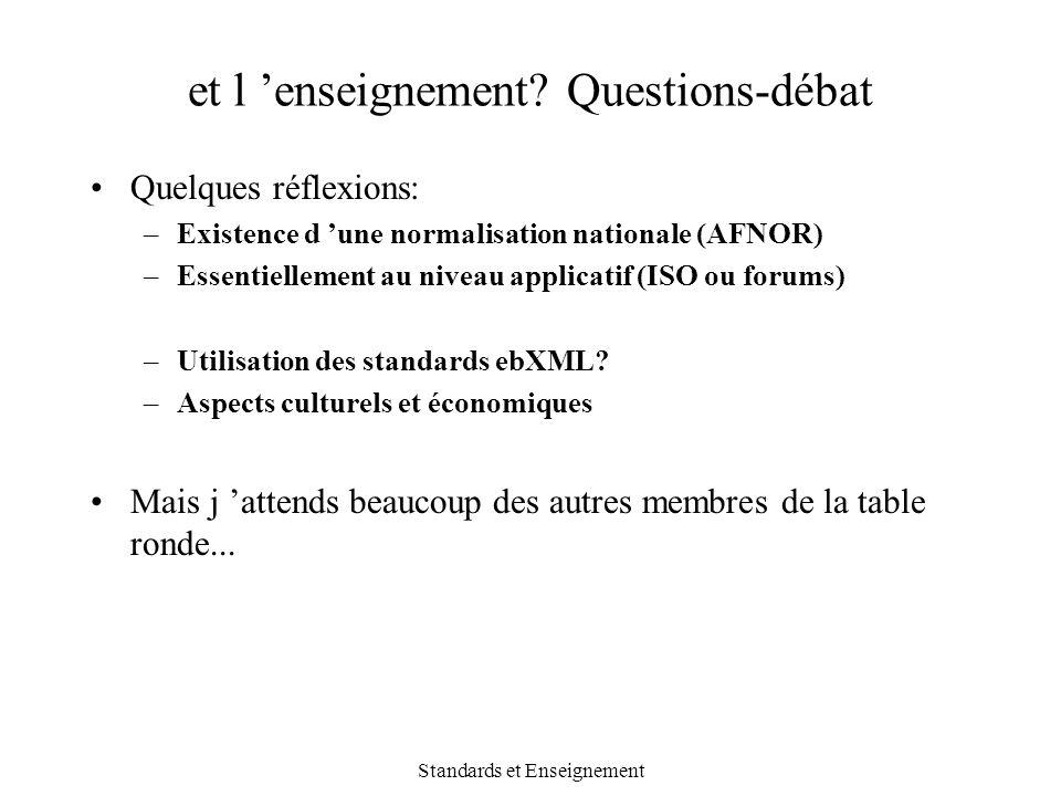 Standards et Enseignement et l 'enseignement? Questions-débat Quelques réflexions: –Existence d 'une normalisation nationale (AFNOR) –Essentiellement