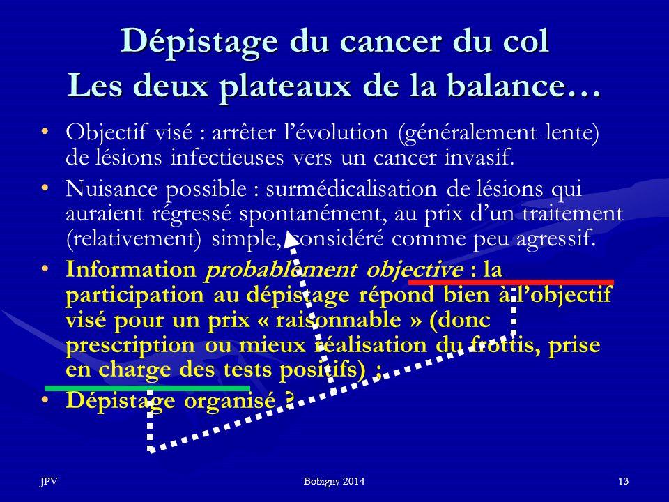 JPVBobigny 201413 Dépistage du cancer du col Les deux plateaux de la balance… Objectif visé : arrêter l'évolution (généralement lente) de lésions infe