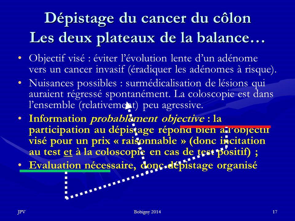 JPVBobigny 201417 Dépistage du cancer du côlon Les deux plateaux de la balance… Objectif visé : éviter l'évolution lente d'un adénome vers un cancer i