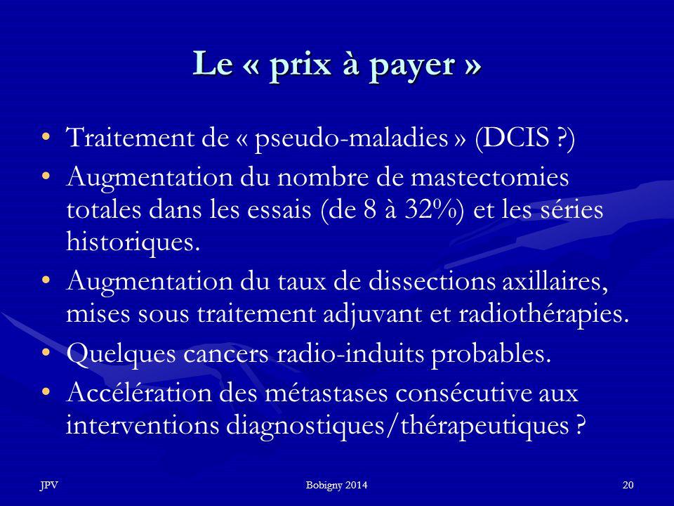 JPVBobigny 201420 Le « prix à payer » Traitement de « pseudo-maladies » (DCIS ?) Augmentation du nombre de mastectomies totales dans les essais (de 8