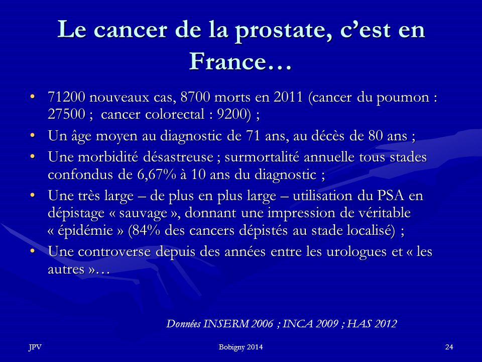 JPVBobigny 201424 Le cancer de la prostate, c'est en France… 71200 nouveaux cas, 8700 morts en 2011 (cancer du poumon : 27500 ; cancer colorectal : 92