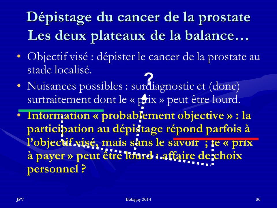 JPVBobigny 201430 Dépistage du cancer de la prostate Les deux plateaux de la balance… Objectif visé : dépister le cancer de la prostate au stade local