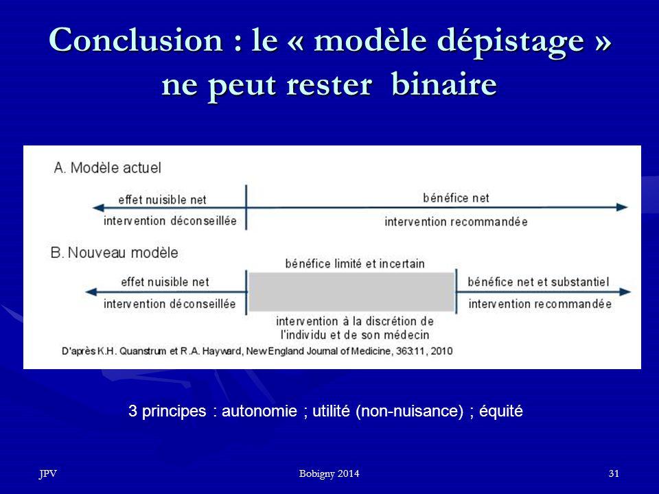 JPVBobigny 201431 Conclusion : le « modèle dépistage » ne peut rester binaire 3 principes : autonomie ; utilité (non-nuisance) ; équité