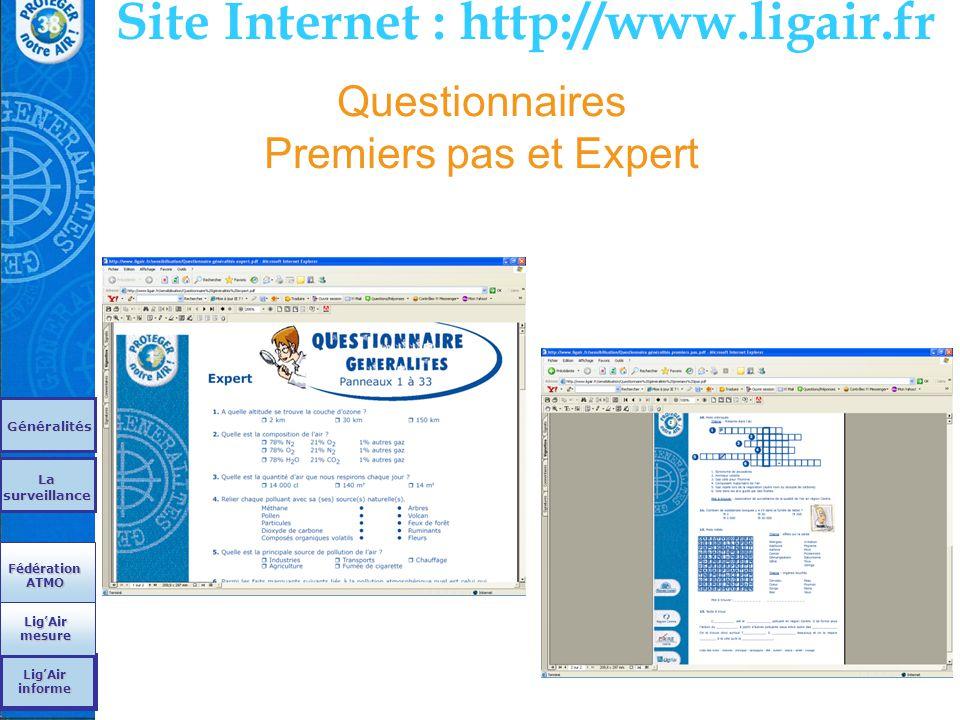 Questionnaires Premiers pas et Expert Site Internet : http://www.ligair.fr Généralités La surveillance La surveillance Fédération ATMO Fédération ATMO