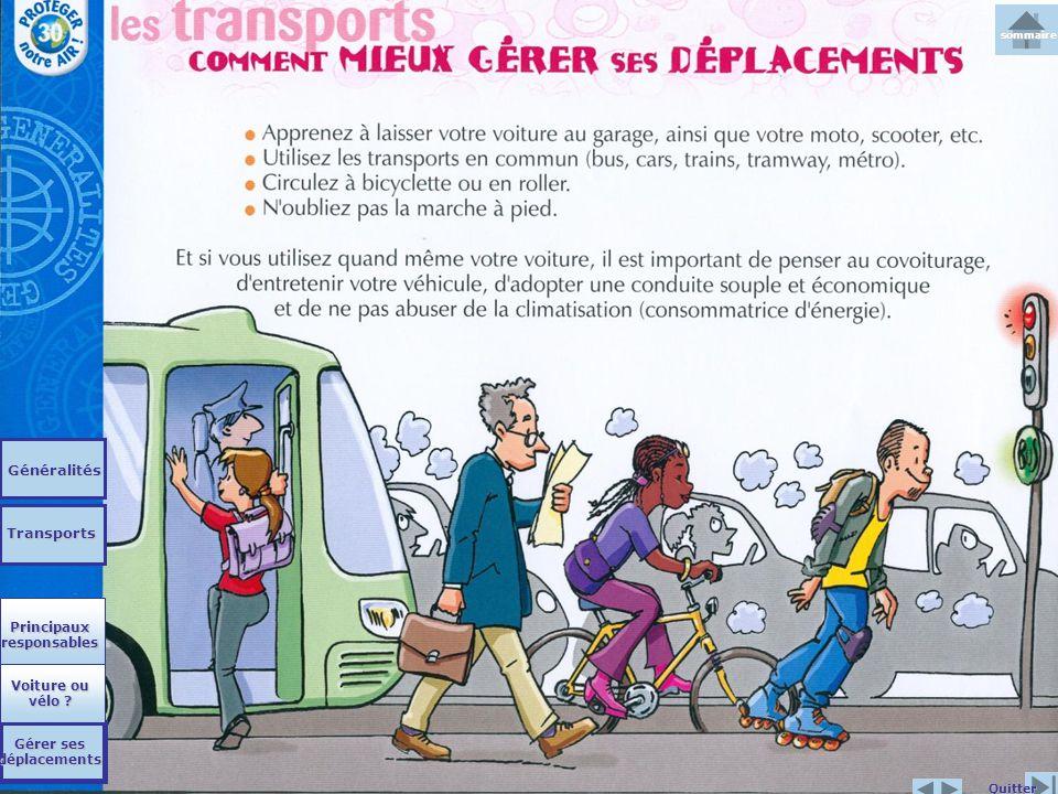 Généralités Transports Quitter Principaux responsables Principaux responsables Voiture ou vélo ? Voiture ou vélo ? Gérer ses déplacements Gérer ses dé