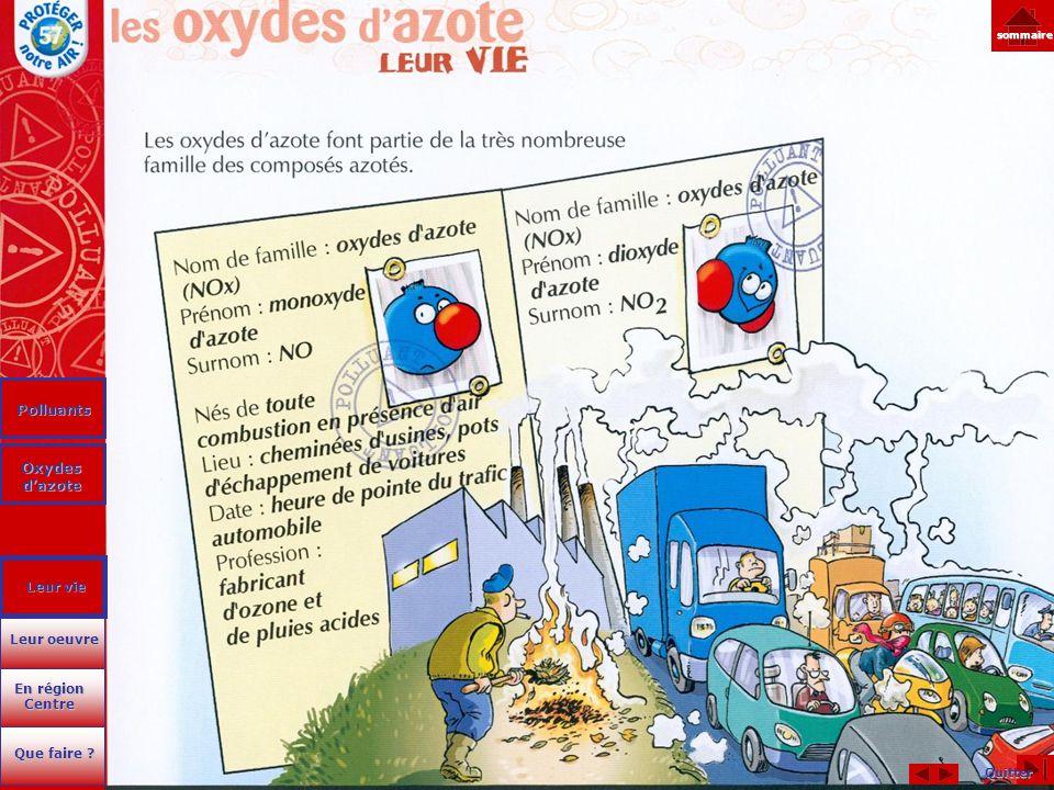 Quitter sommaire Polluants Oxydes d'azote Oxydes d'azote En région Centre En région Centre Que faire ? Que faire ? Leur oeuvre Leur oeuvre Leur vie Le