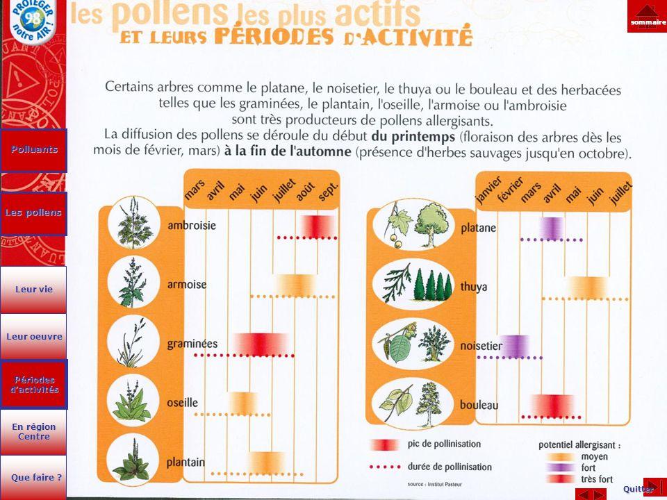 Polluants Les pollens Les pollens Quitter sommaire Leur oeuvre Leur oeuvre En région Centre En région Centre Que faire ? Que faire ? Leur vie Leur vie