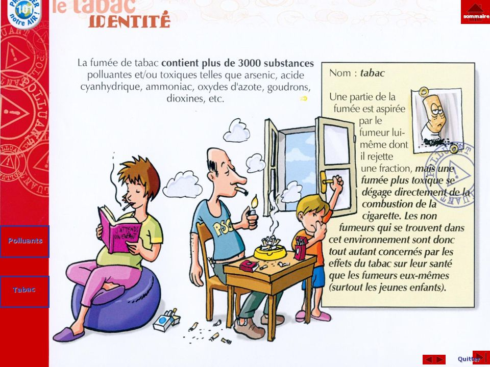Quitter sommaire Tabac Polluants