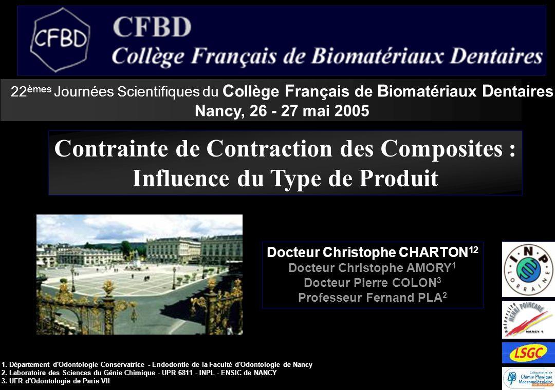 22 èmes Journées Scientifiques du C ollège F rançais de B iomatériaux D entaires Nancy, 26 - 27 mai 2005 Contrainte de Contraction des Composites : In
