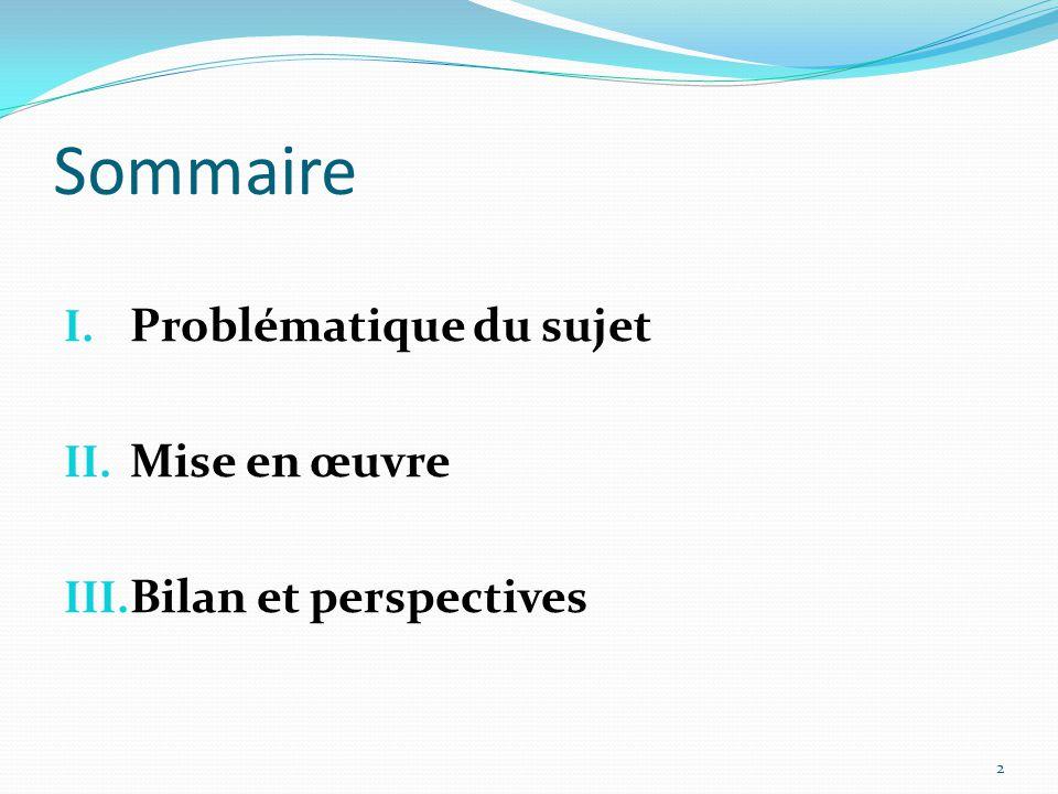 Sommaire I. Problématique du sujet II. Mise en œuvre III. Bilan et perspectives 2