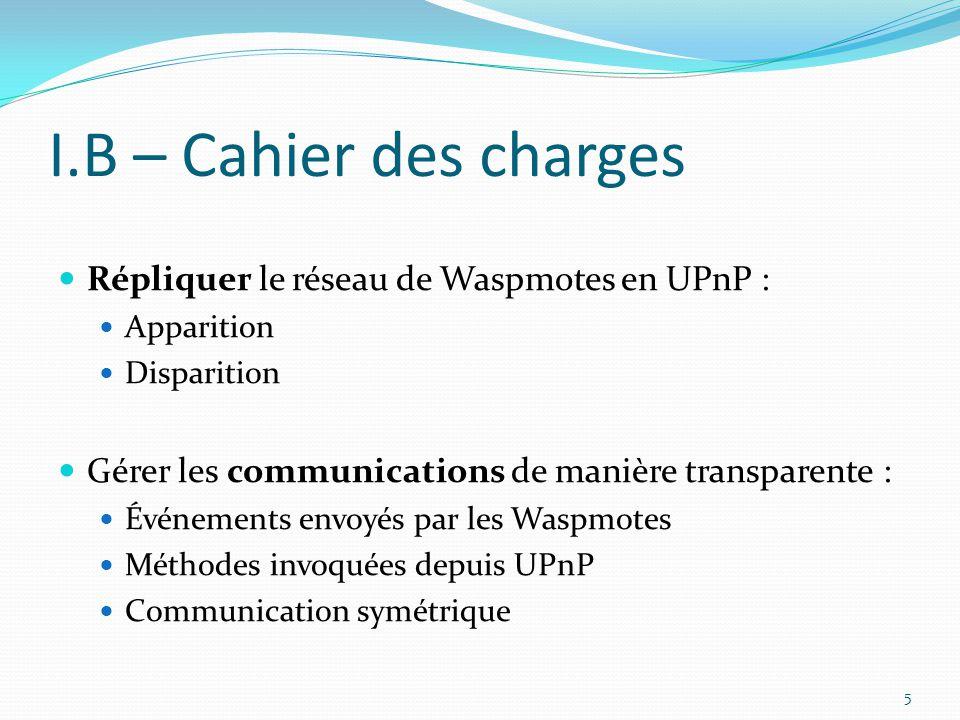 I.B – Cahier des charges Répliquer le réseau de Waspmotes en UPnP : Apparition Disparition Gérer les communications de manière transparente : Événemen
