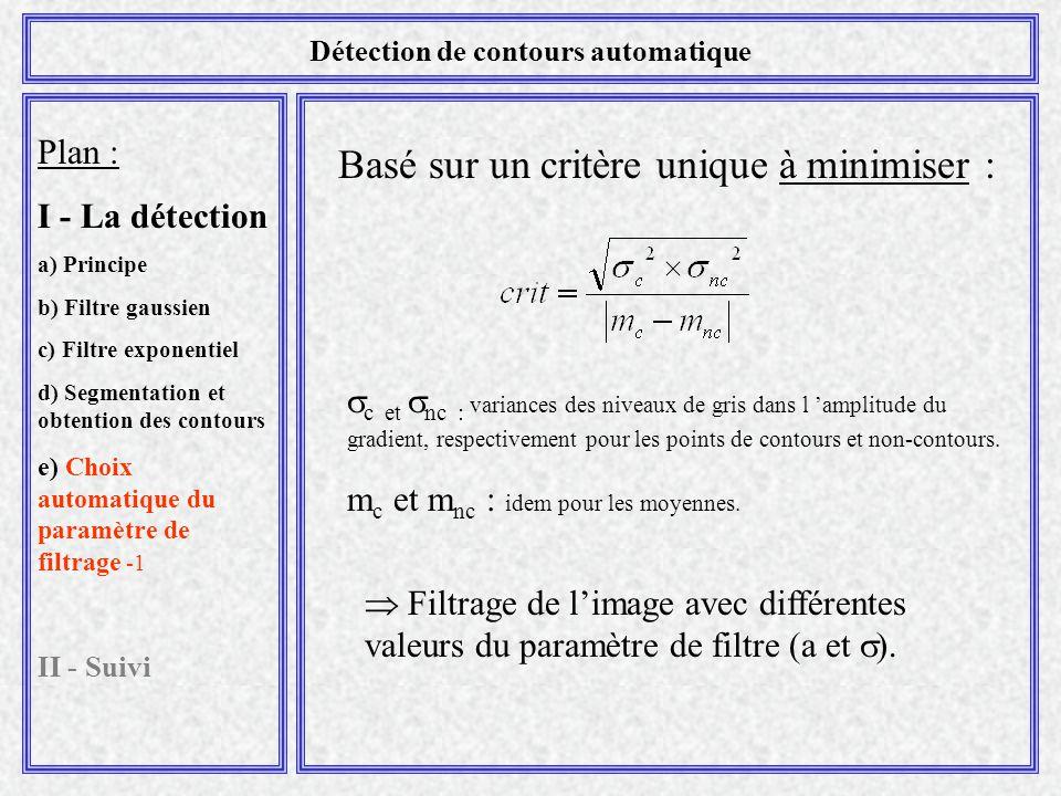 Plan : I - La détection a) Principe b) Filtre gaussien c) Filtre exponentiel d) Segmentation et obtention des contours e) Choix automatique du paramètre de filtrage -1 II - Suivi Détection de contours automatique Basé sur un critère unique à minimiser :  c et  nc : variances des niveaux de gris dans l 'amplitude du gradient, respectivement pour les points de contours et non-contours.