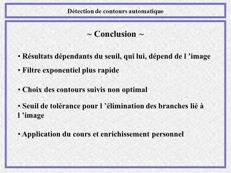 Détection de contours automatique ~ Conclusion ~ Résultats dépendants du seuil, qui lui, dépend de l 'image Filtre exponentiel plus rapide Choix des c