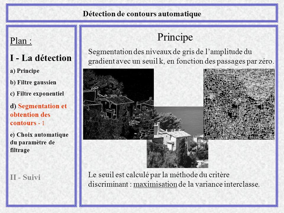 Plan : I - La détection a) Principe b) Filtre gaussien c) Filtre exponentiel d) Segmentation et obtention des contours - 1 e) Choix automatique du par