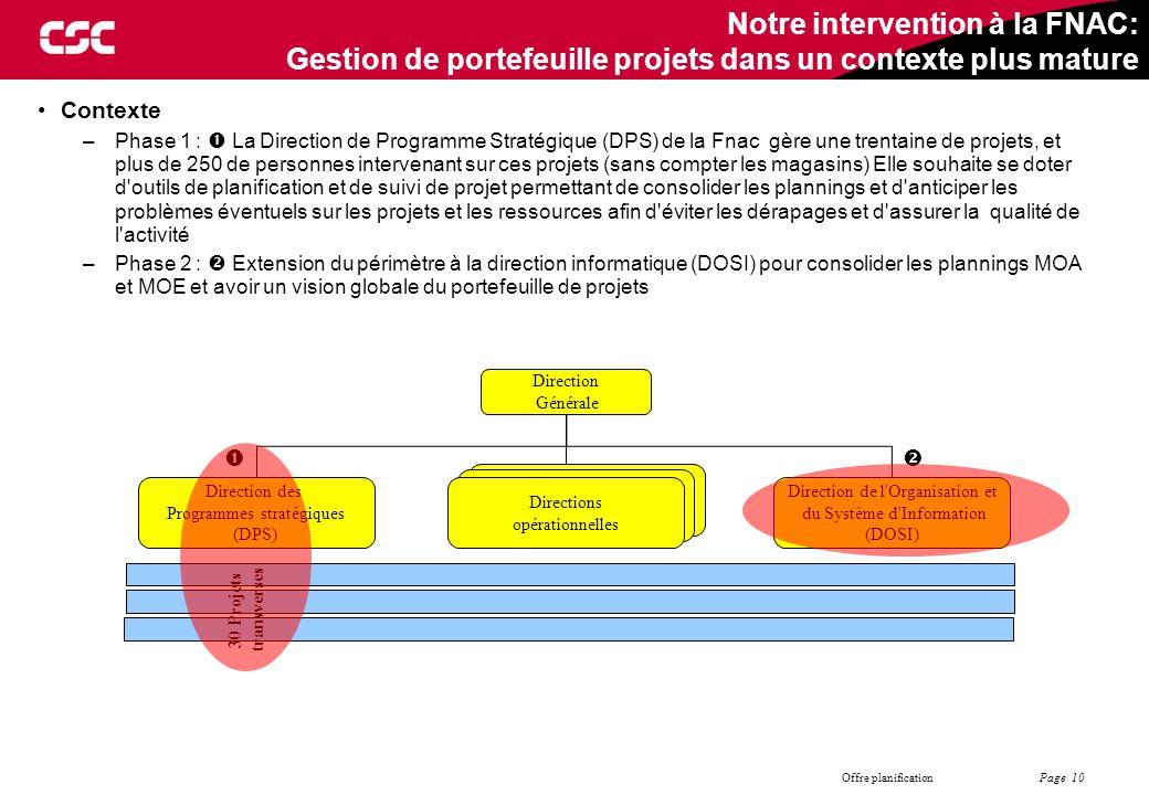 Page 10 Offre planification Notre intervention à la FNAC: Gestion de portefeuille projets dans un contexte plus mature Contexte –Phase 1 :  La Direct