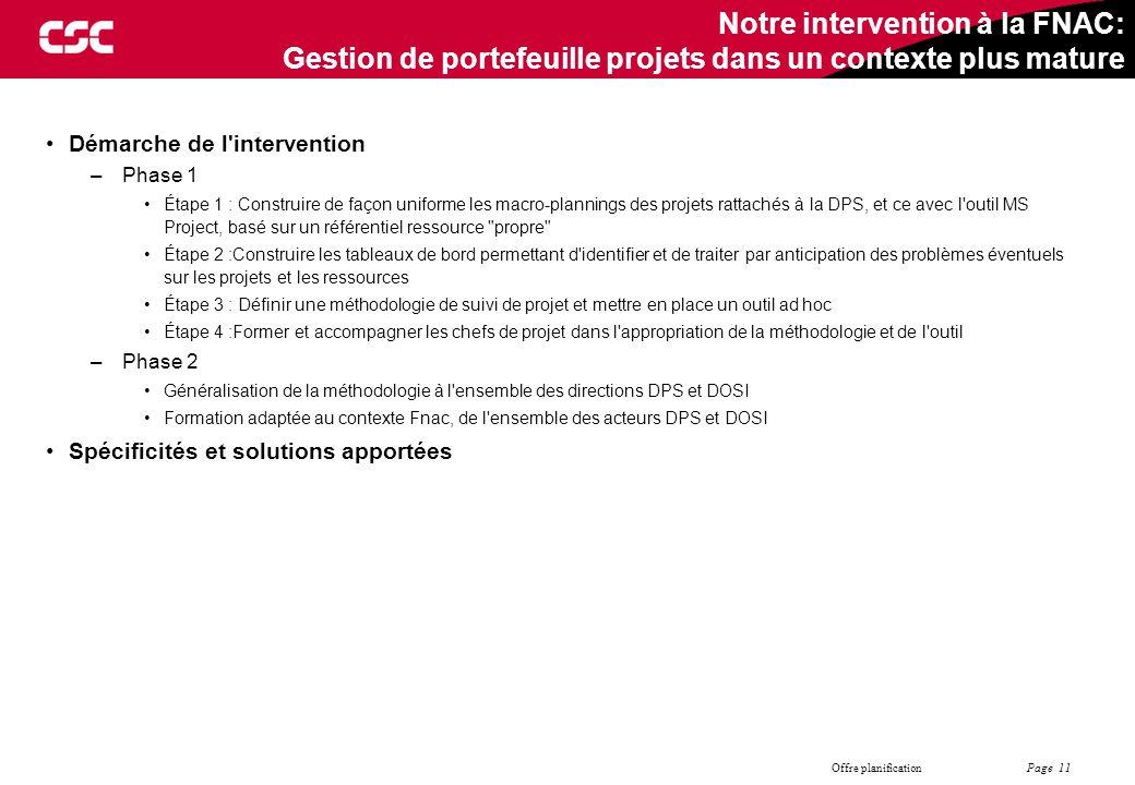 Page 11 Offre planification Notre intervention à la FNAC: Gestion de portefeuille projets dans un contexte plus mature Démarche de l'intervention –Pha