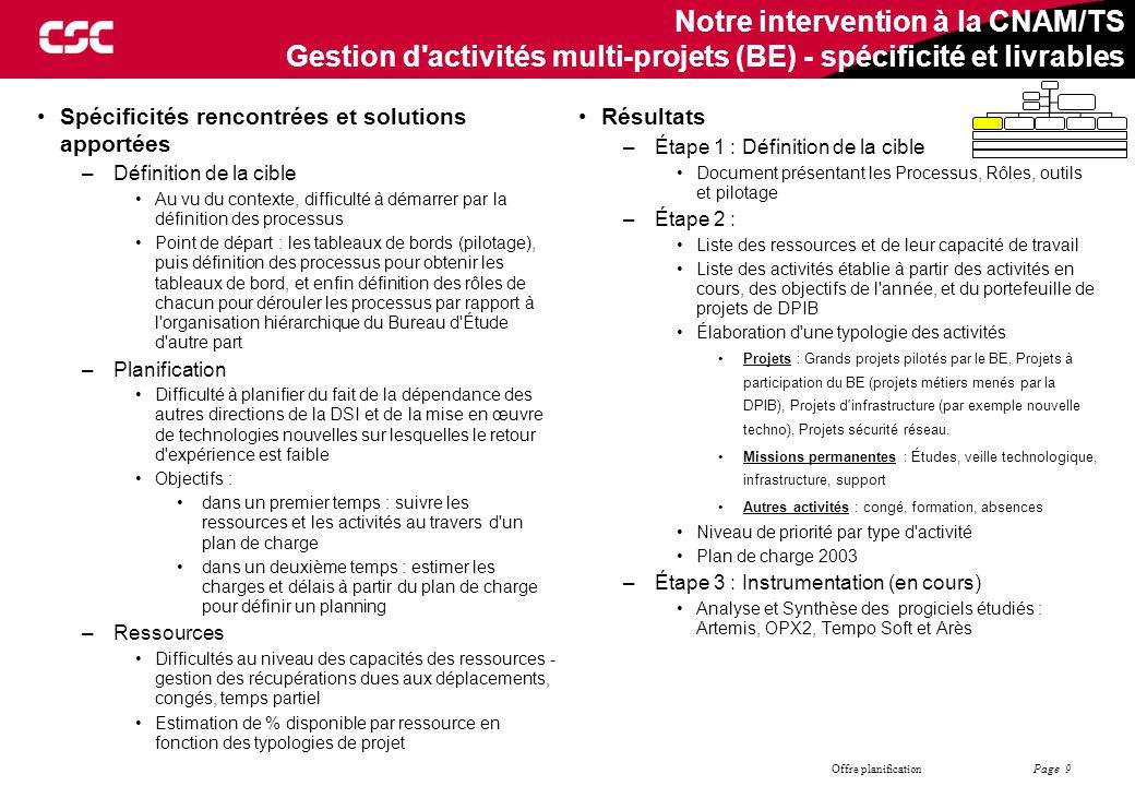 Page 9 Offre planification Notre intervention à la CNAM/TS Gestion d'activités multi-projets (BE) - spécificité et livrables Résultats –Étape 1 : Défi
