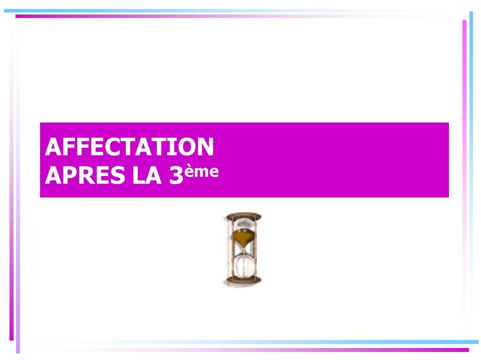 AFFECTATION APRES LA 3 ème