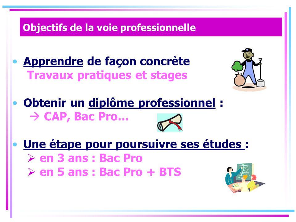 Objectifs de la voie professionnelle Apprendre de façon concrète Travaux pratiques et stages Obtenir un diplôme professionnel :  CAP, Bac Pro… Une étape pour poursuivre ses études :  en 3 ans : Bac Pro  en 5 ans : Bac Pro + BTS