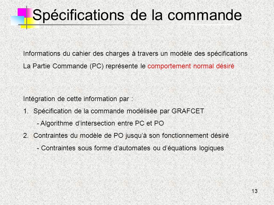 13 Spécifications de la commande Informations du cahier des charges à travers un modèle des spécifications La Partie Commande (PC) représente le compo