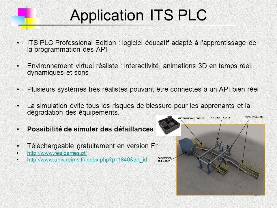 29 Application ITS PLC ITS PLC Professional Edition : logiciel éducatif adapté à l'apprentissage de la programmation des API Environnement virtuel réa