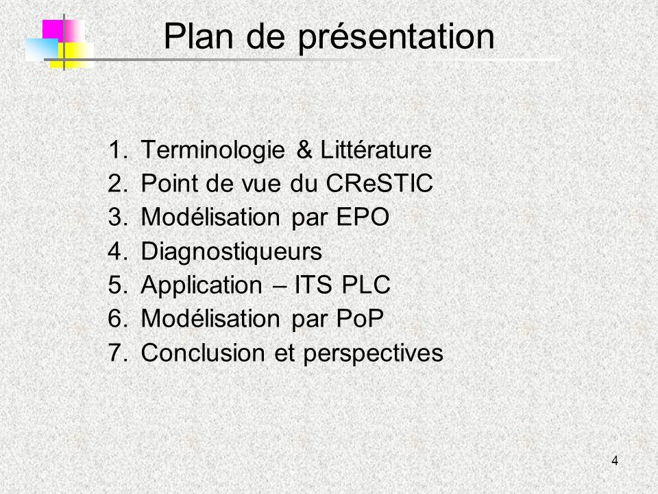 4 Plan de présentation 1.Terminologie & Littérature 2.Point de vue du CReSTIC 3.Modélisation par EPO 4.Diagnostiqueurs 5.Application – ITS PLC 6.Modél