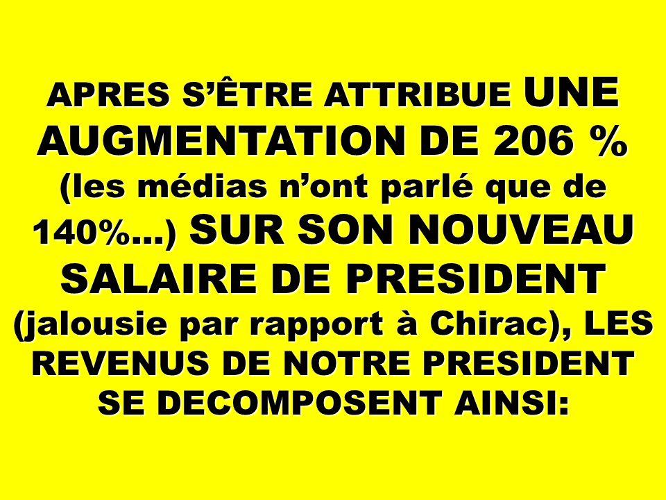 APRES S'ÊTRE ATTRIBUE UNE AUGMENTATION DE 206 % (les médias n'ont parlé que de 140%…) SUR SON NOUVEAU SALAIRE DE PRESIDENT (jalousie par rapport à Chirac), LES REVENUS DE NOTRE PRESIDENT SE DECOMPOSENT AINSI: