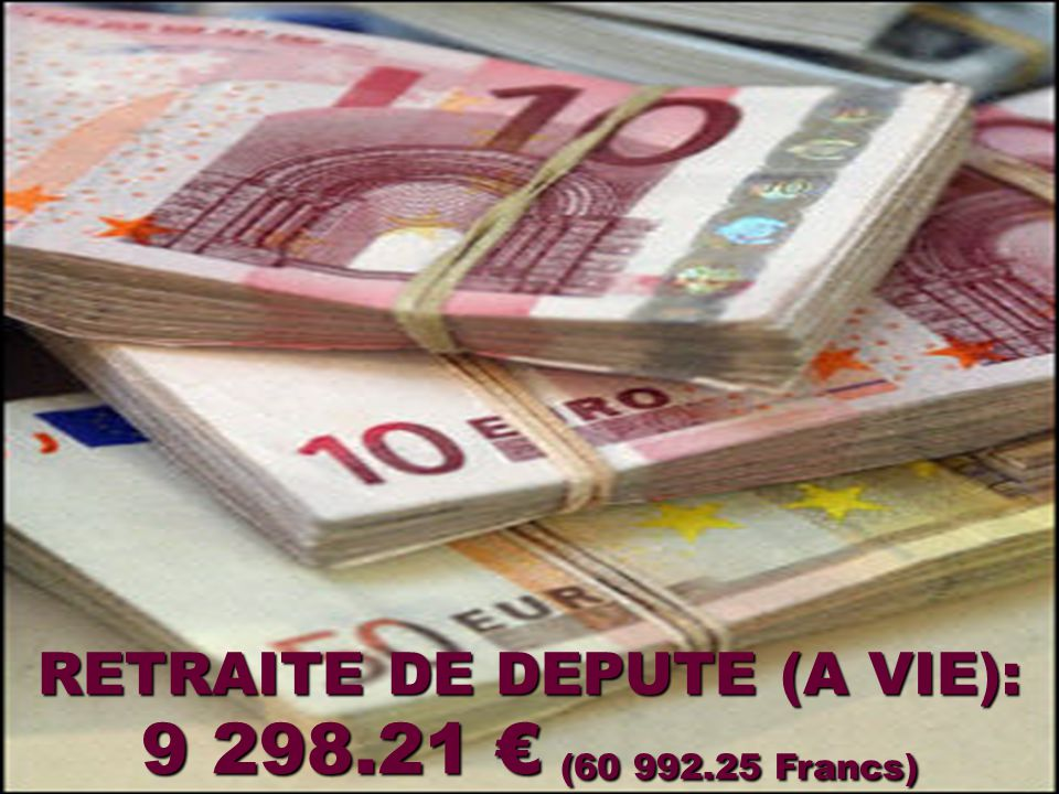 INDEMNITE MENSUELLE DE PRESIDENT DE LA REPUBLIQUE: 24 874.55 € ( 163 166.35 Francs)