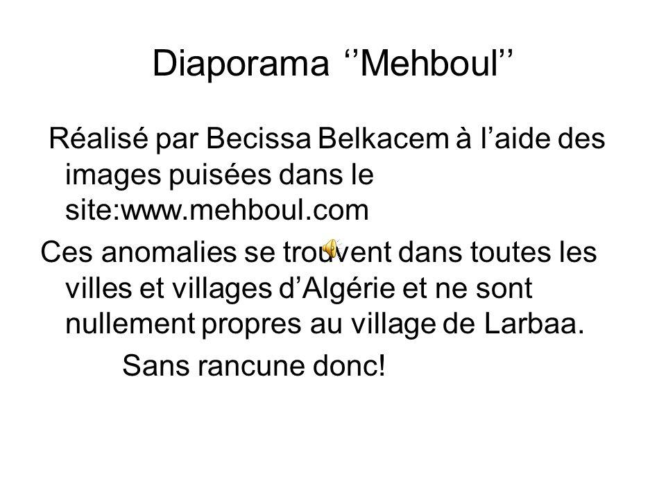 Diaporama ''Mehboul'' Réalisé par Becissa Belkacem à l'aide des images puisées dans le site:www.mehboul.com Ces anomalies se trouvent dans toutes les villes et villages d'Algérie et ne sont nullement propres au village de Larbaa.
