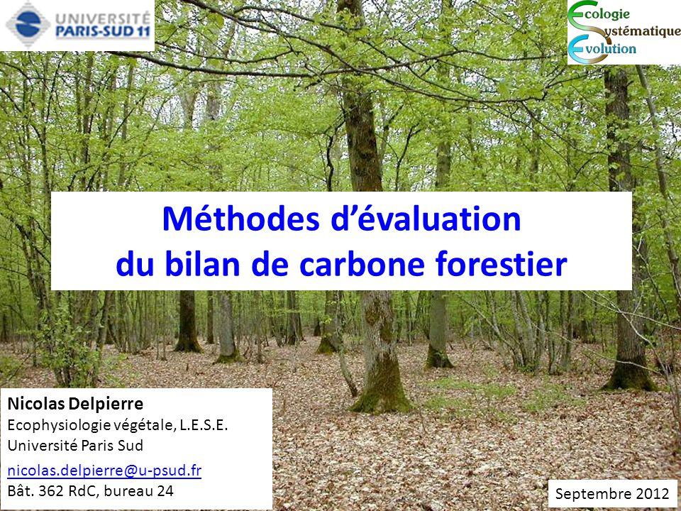 Méthodes d'évaluation du bilan de carbone forestier Nicolas Delpierre Ecophysiologie végétale, L.E.S.E. Université Paris Sud nicolas.delpierre@u-psud.