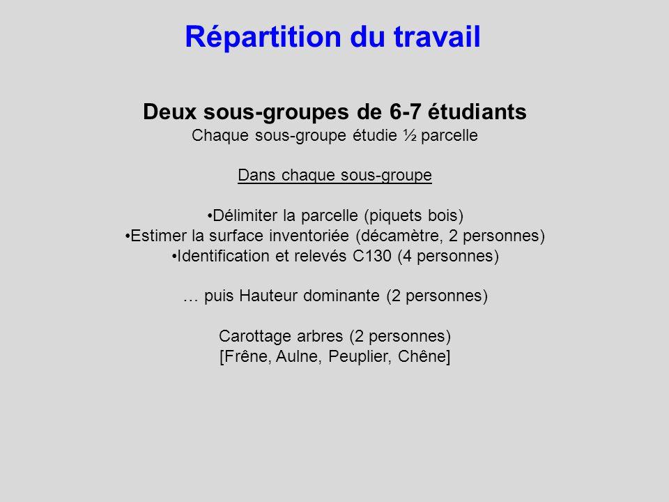 Répartition du travail Deux sous-groupes de 6-7 étudiants Chaque sous-groupe étudie ½ parcelle Dans chaque sous-groupe Délimiter la parcelle (piquets