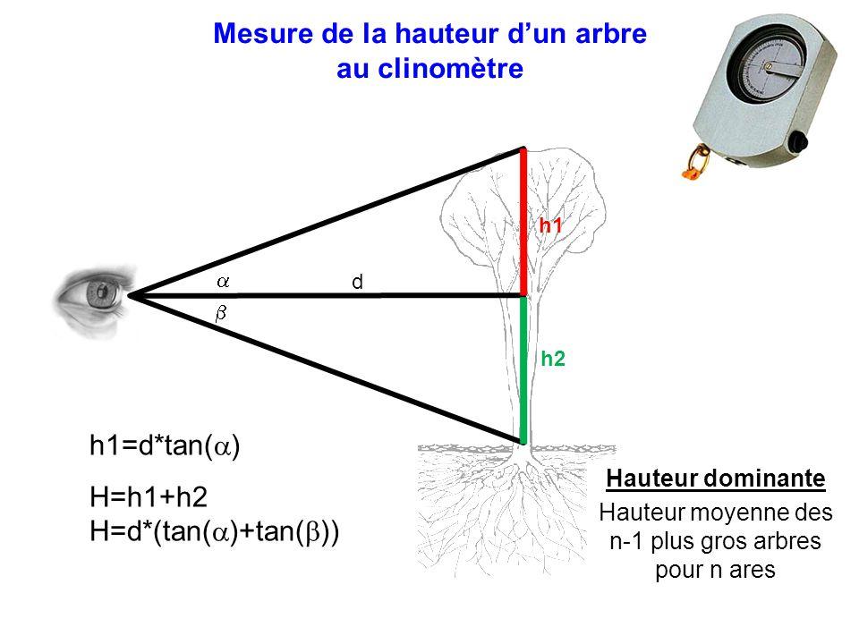 Mesure de la hauteur d'un arbre au clinomètre   d h1 h2 h1=d*tan(  ) H=h1+h2 H=d*(tan(  )+tan(  )) Hauteur dominante Hauteur moyenne des n-1 plus