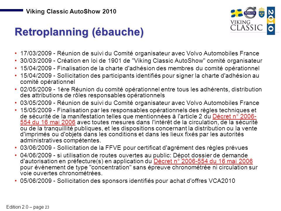 Edition 2.0 – page 23 Viking Classic AutoShow 2010 17/03/2009 - Réunion de suivi du Comité organisateur avec Volvo Automobiles France 30/03/2009 - Cré