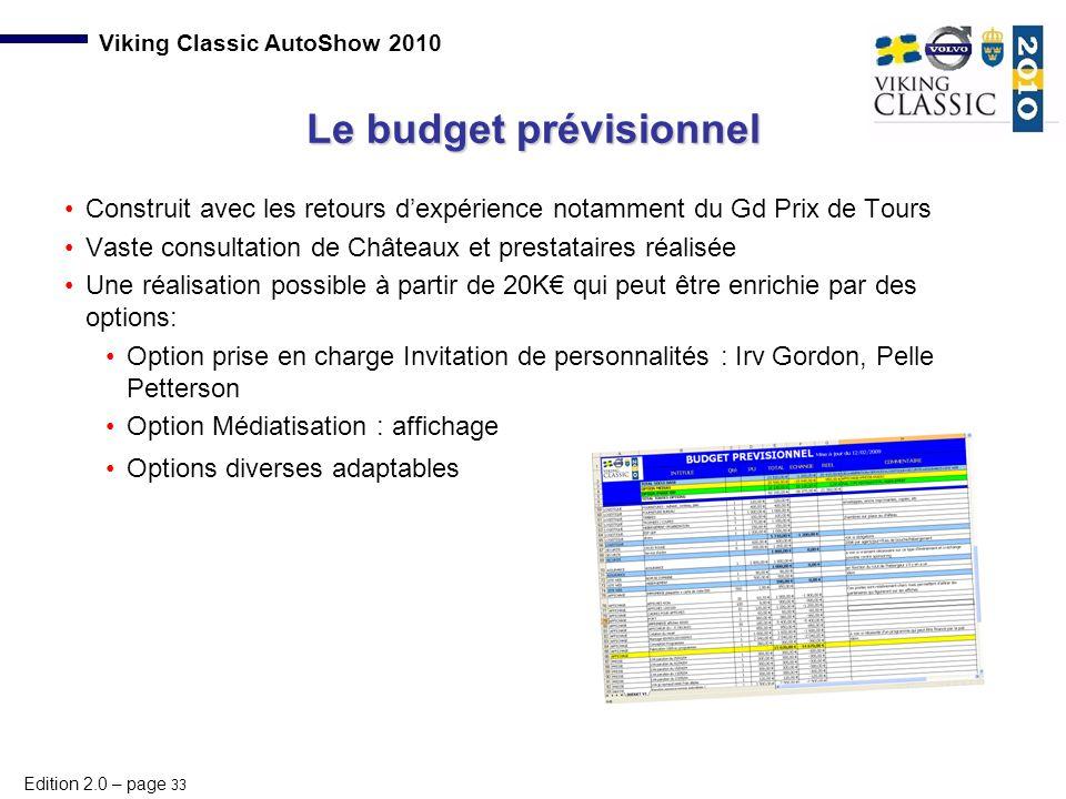 Edition 2.0 – page 33 Viking Classic AutoShow 2010 Le budget prévisionnel Construit avec les retours d'expérience notamment du Gd Prix de Tours Vaste