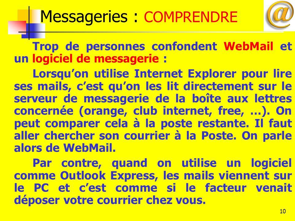 10 Messageries : COMPRENDRE Trop de personnes confondent WebMail et un logiciel de messagerie : Lorsqu'on utilise Internet Explorer pour lire ses mail