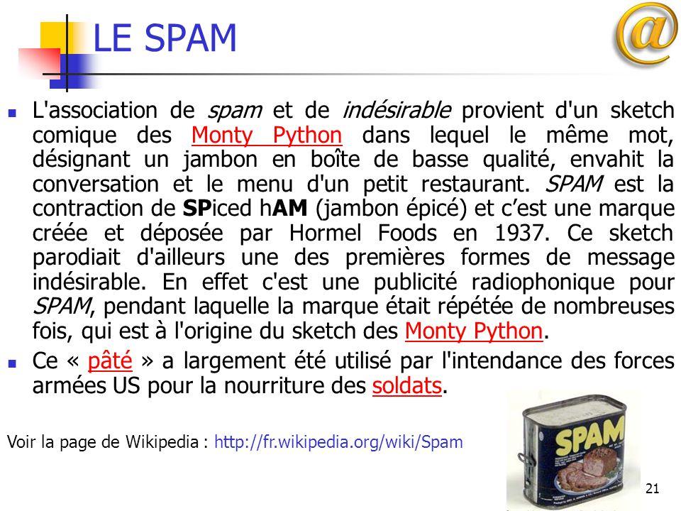 21 LE SPAM L'association de spam et de indésirable provient d'un sketch comique des Monty Python dans lequel le même mot, désignant un jambon en boîte