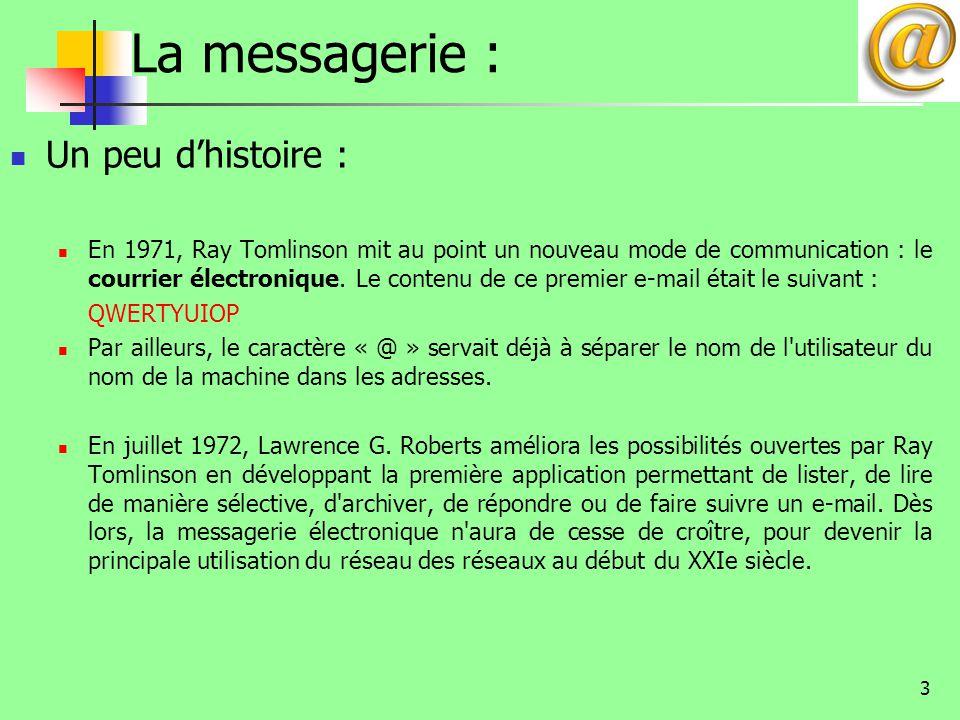 3 La messagerie : Un peu d'histoire : En 1971, Ray Tomlinson mit au point un nouveau mode de communication : le courrier électronique. Le contenu de c
