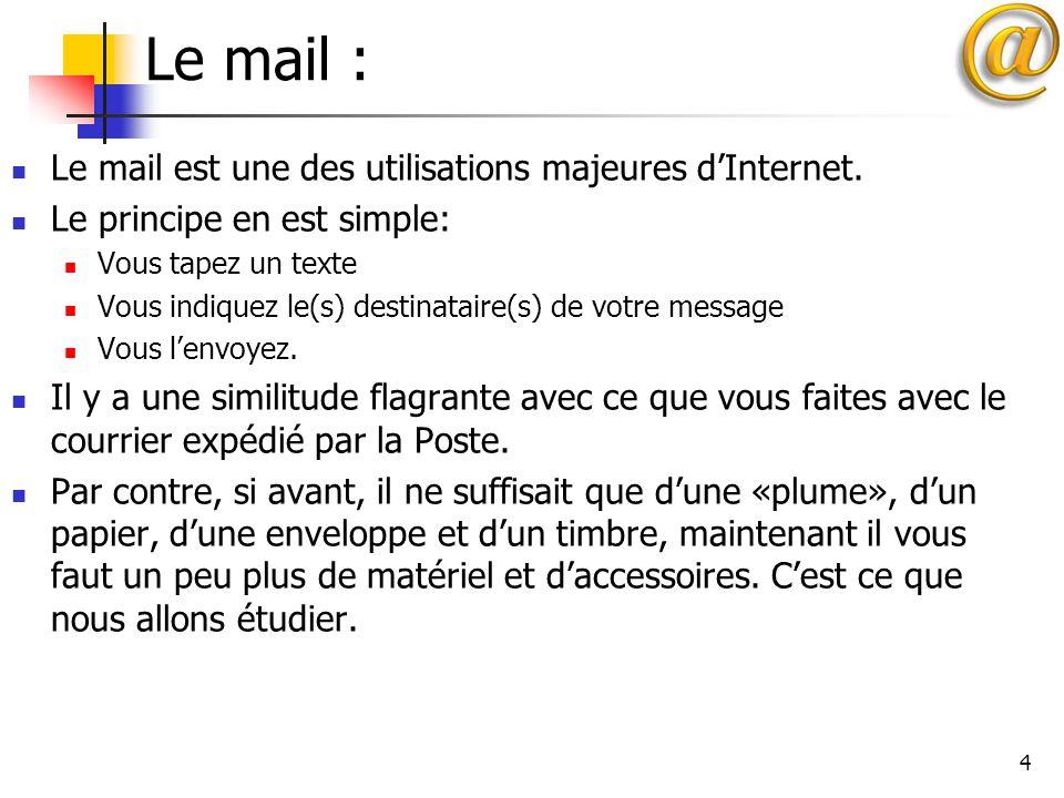4 Le mail : Le mail est une des utilisations majeures d'Internet. Le principe en est simple: Vous tapez un texte Vous indiquez le(s) destinataire(s) d